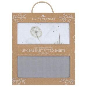 Living Textiles Organic Muslin 2pk Bassinet Fitted Sheet - Dandelion/Grey