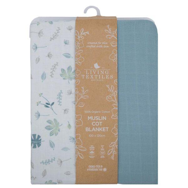 Living Textiles Organic Muslin Cot Blanket - Banana leaf/Teal