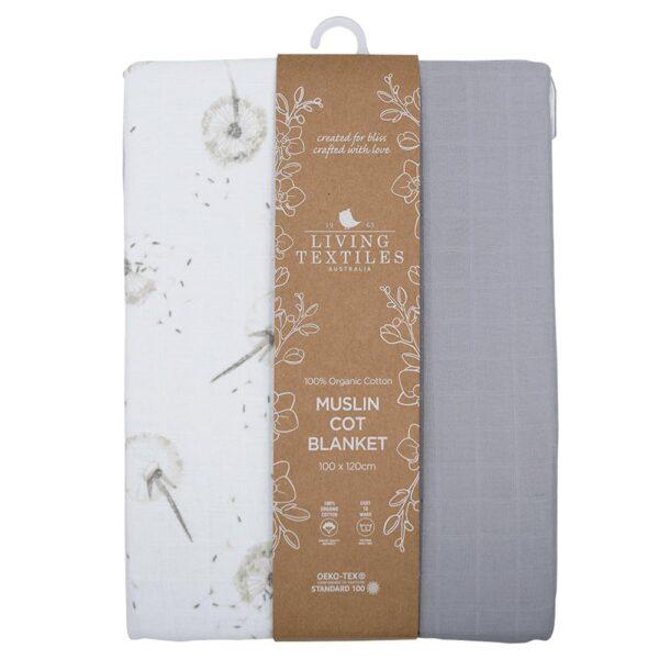 Living Textiles Organic Muslin Cot Blanket - Dandelion/Grey
