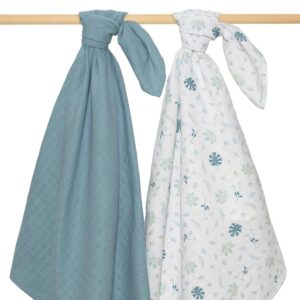 Living Textiles Organic Muslin Swaddle 2pk - Banana Leaf/Teal