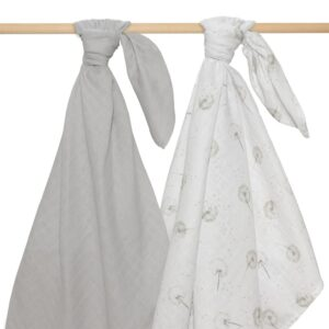 Living Textiles Organic Muslin Swaddle 2pk - Dandelion Grey