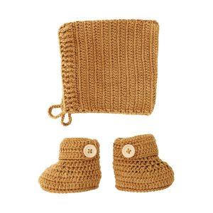 OB Designs Crochet Bonnet & Bootie Set Cinnamon