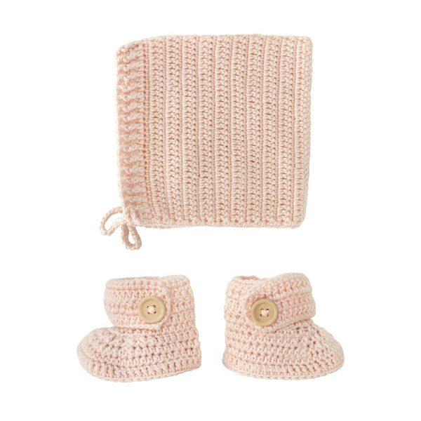 OB Designs Crochet Bonnet & Bootie Set Peach