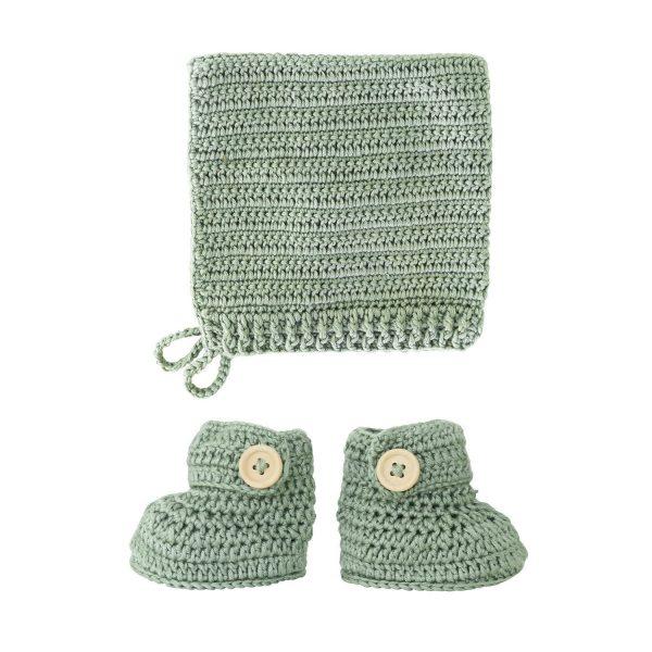 OB Designs Crochet Bonnet & Bootie Set Sage