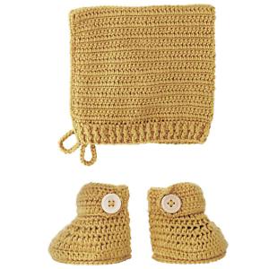 OB Designs Crochet Bonnet & Bootie Set Tumeric