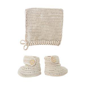 OB Designs Crochet Bonnet & Bootie Set Vanilla