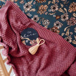 Snuggle Hunny Kids Diamond Knit Baby Blanket Mauve