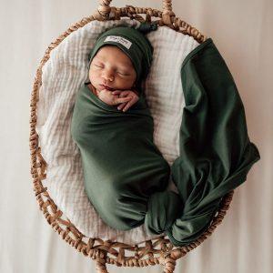 Snuggle Hunny Kids Jersey Wrap & Beanie Set Olive