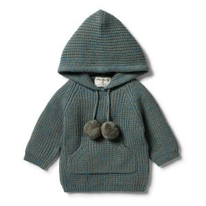 Wilson & Frenchy Knitted Jumper with Hood Dusty Olive Fleck