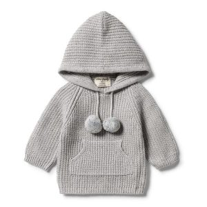 Wilson & Frenchy Knitted Jumper with Hood Glacier Grey Fleck