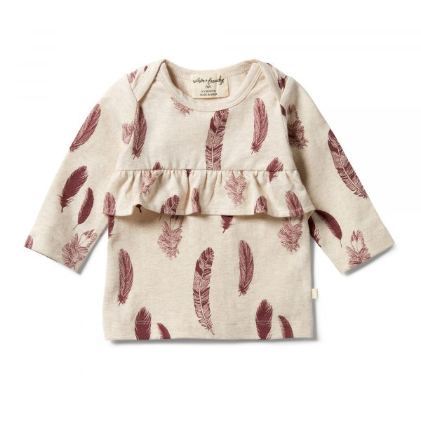 Wilson & Frenchy Envelope Ruffle Top Falling Feathers