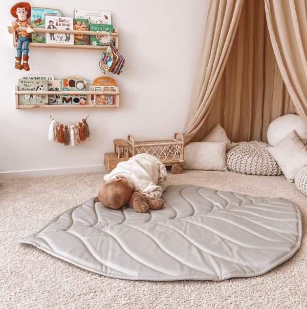 3 Little Crowns Vegan Leather Quilted Playmat Leaf Grey