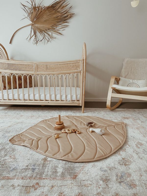 3 Little Crowns Vegan Leather Quilted Playmat Leaf Nude