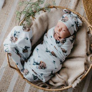 Snuggly Jacks Jersey Wrap & Beanie Grizzly
