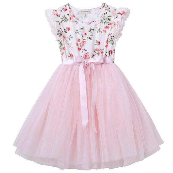 Designer Kidz Penny Floral Tutu Dress Pink