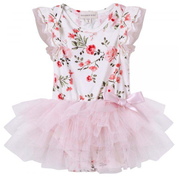 Designer Kidz Penny Floral Tutu Romper Pink