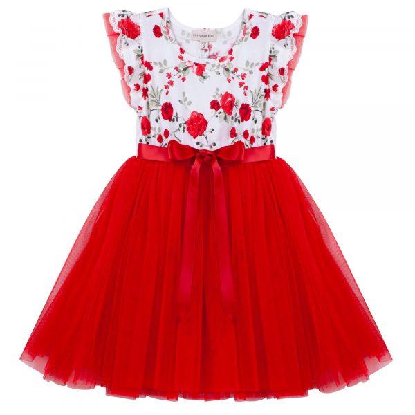 Designer Kidz Penny Floral Tutu Dress Red