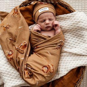 Snuggle Hunny Kids Jersey Wrap & Beanie Set Roar