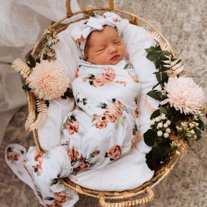 Snuggle Hunny Kids Jersey Wrap & Beanie Set Rosebud