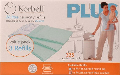 Korbell Nappy Disposal System Refills 3 Pack