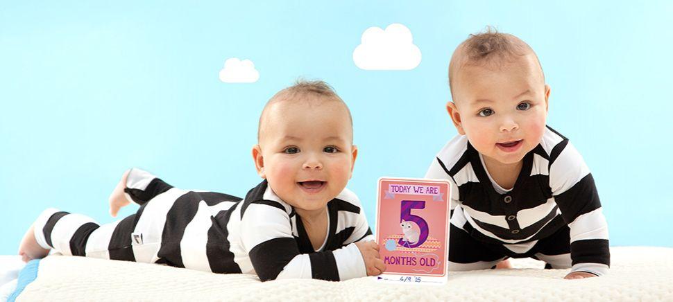 Milestone Baby Cards - Twins!